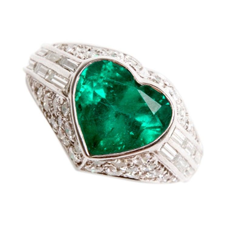 bulgari platinum emerald ring at 1stdibs