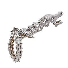 Cantamessa Diamond Two Color Gold Dragon Bracelet