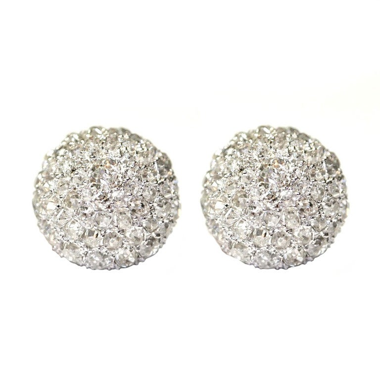 Diamond Button Earrings, Princess Grace of Monaco Family For Sale