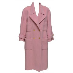 Chanel Pink Wool Overcoat Gold Buttons