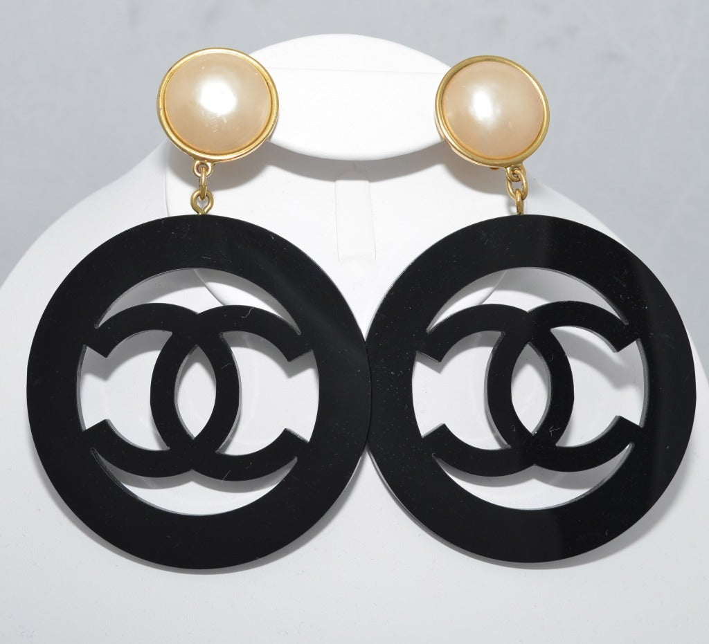 1990s Chanel Massive Logo Earrings Lucite and Pearl Season 28 2