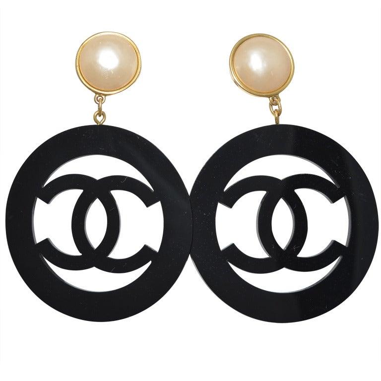 1990s Chanel Massive Logo Earrings Lucite and Pearl Season 28 1