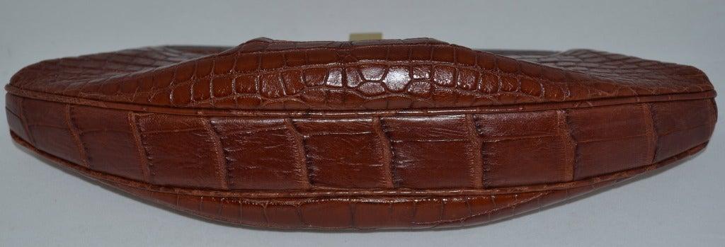 Brown Lambertson Truex Crocodile Clutch For Sale