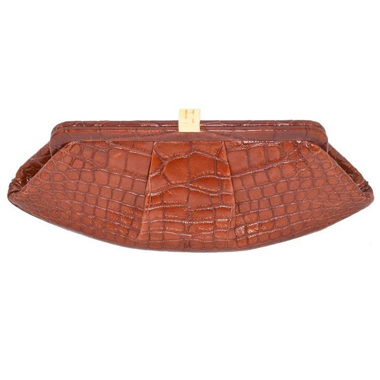 Lambertson Truex Crocodile Clutch For Sale