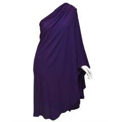 Halston 1970's New Old Stock One Shoulder Crepe Dress