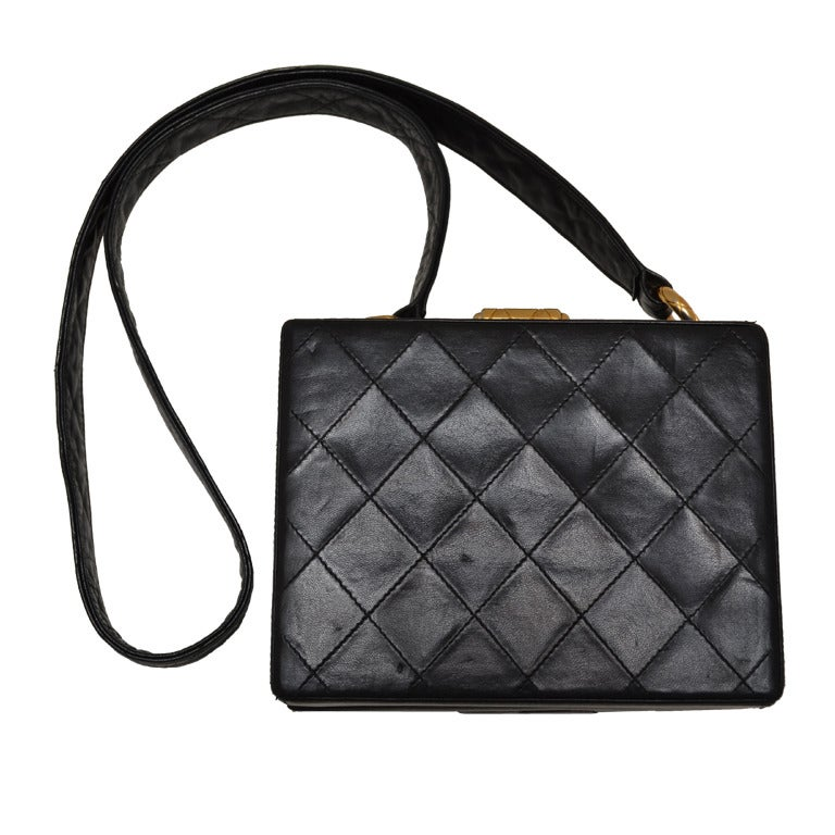 Chanel Black Vintage Quilted Box Handbag 1