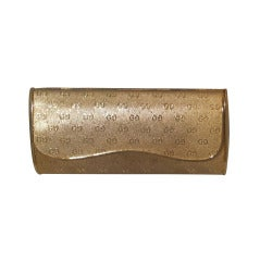 Gucci Gold Tone Metal Minaudière Embossed Logo 1970's