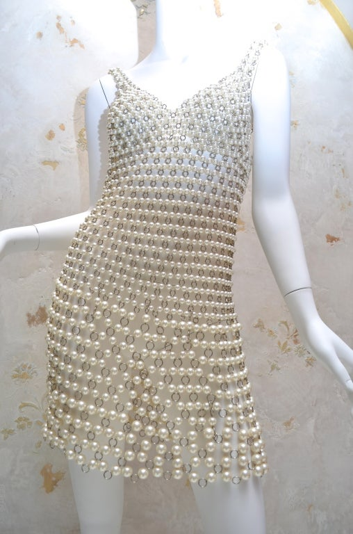 Paco Rabanne Pearl and Metal Link Mini Dress French Couture 2