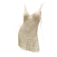 Paco Rabanne Pearl and Metal Link Mini Dress French Couture