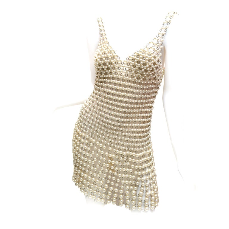 Paco rabanne pearl and metal link mini dress french for French couture dresses