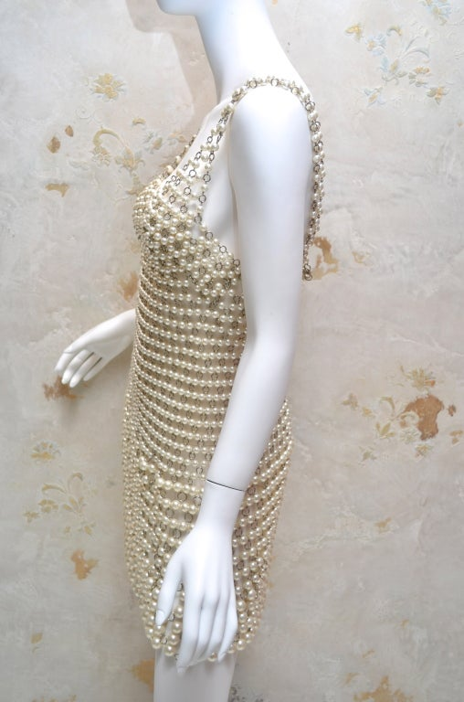 Paco Rabanne Pearl and Metal Link Mini Dress French Couture 6