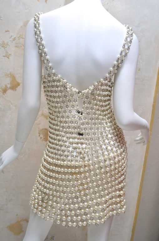 Paco Rabanne Pearl and Metal Link Mini Dress French Couture 7