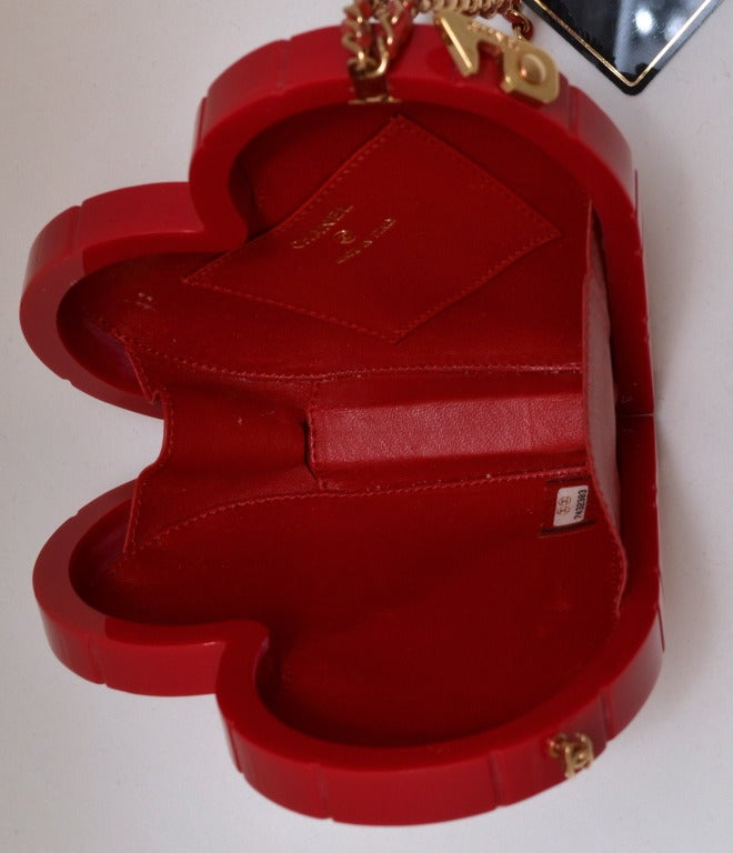 Women's Rare Chanel Cherry Red Lucite Heart Minaudiere Handbag