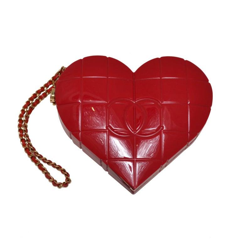 Rare Chanel Cherry Red Lucite Heart Minaudiere Handbag