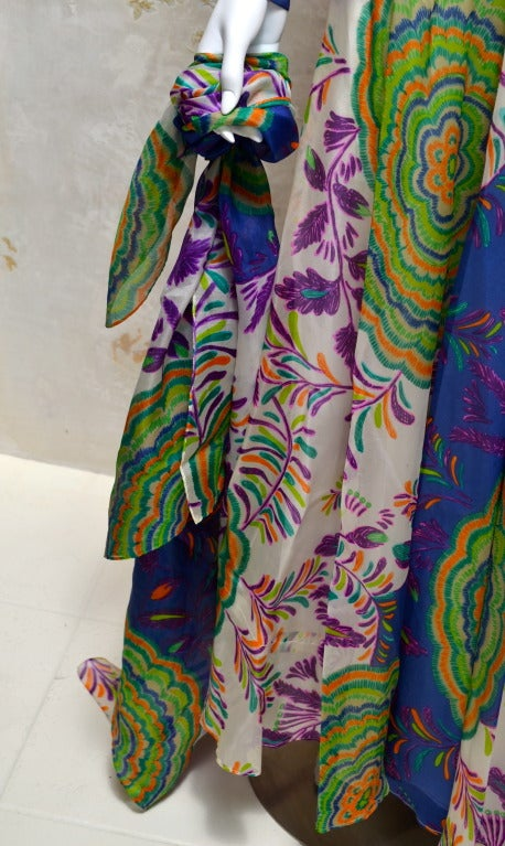 Lanvin Vintage 1970's Silk Organza Summer Hue Printed Gown with Large Shaw In Excellent Condition For Sale In Carmel by the Sea, CA