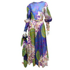Lanvin Vintage 1970's Silk Organza Summer Hue Printed Gown with Large Shaw