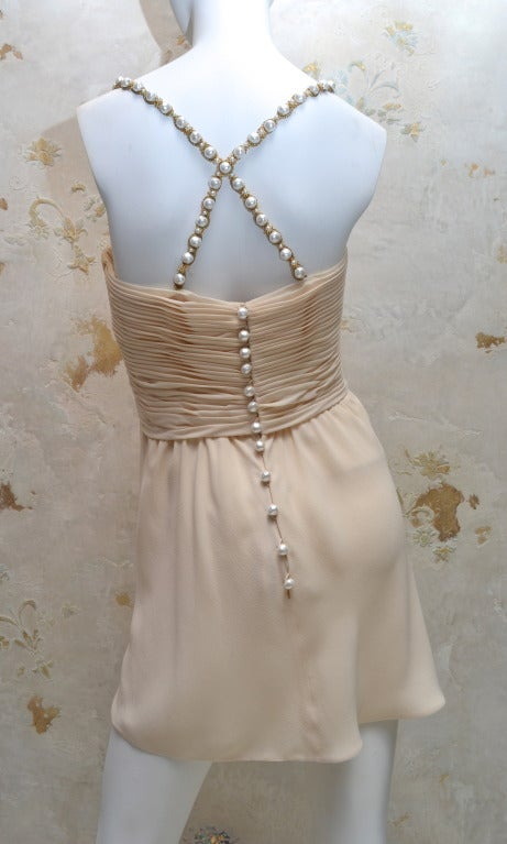 Beige Vintage Chanel Ruched Silk Chiffon Dress / Top with Pearl Straps and Buttons For Sale