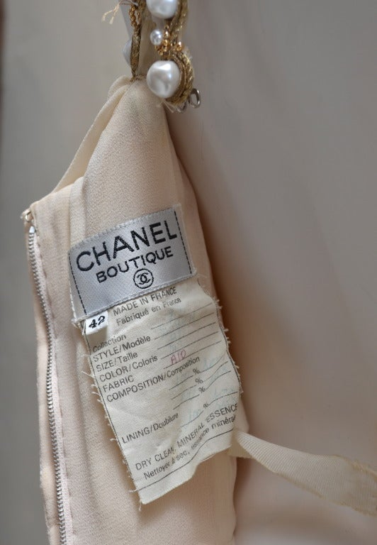 Women's Vintage Chanel Ruched Silk Chiffon Dress / Top with Pearl Straps and Buttons For Sale