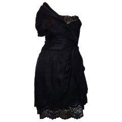 Paul Louis Orrier Silk & Lace One Shoulder Cocktail Dress sz40