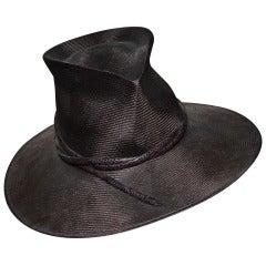 Philip Treacy Wide Brim Straw Hat Brown Snakeskin Band Sz M
