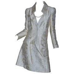 Chanel Off White Suit with Pearl Accents and Camelia Design 2001 P Sz 40