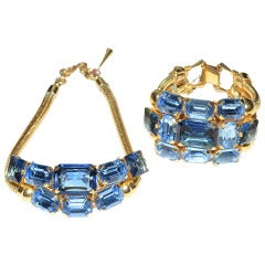 1940's Massive Glass Choker Necklace and Bracelet