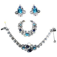 Christian Dior Demi-Parure Bracelet Brooch and Earrings 1950's