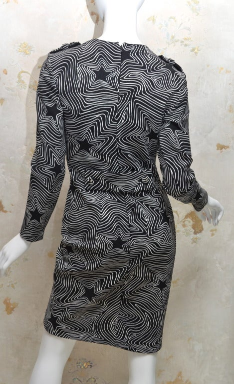 Gianni Versace Couture Black and White Stretch Knit Dress Star Pattern at 1st...