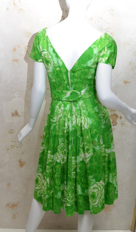 Suzy Perette New York 1950's Summer Green Cotton Floral Day Dress 2