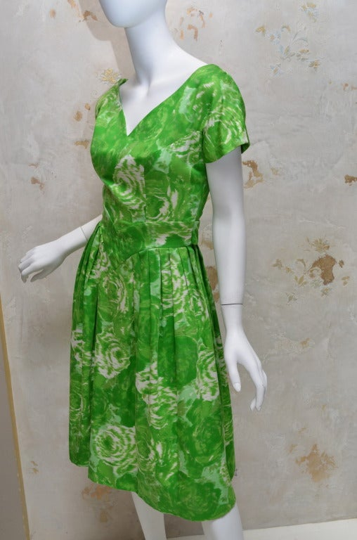 Suzy Perette New York 1950's Summer Green Cotton Floral Day Dress 3