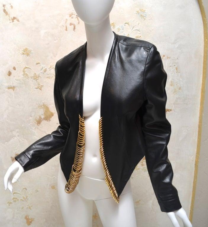 Gianfranco Ferre Black Leather Bolero with Large Gold Rings 2