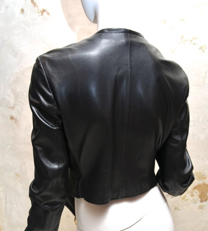 Gianfranco Ferre Black Leather Bolero with Large Gold Rings 4