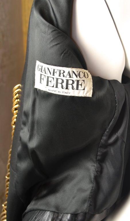 Gianfranco Ferre Black Leather Bolero with Large Gold Rings 5