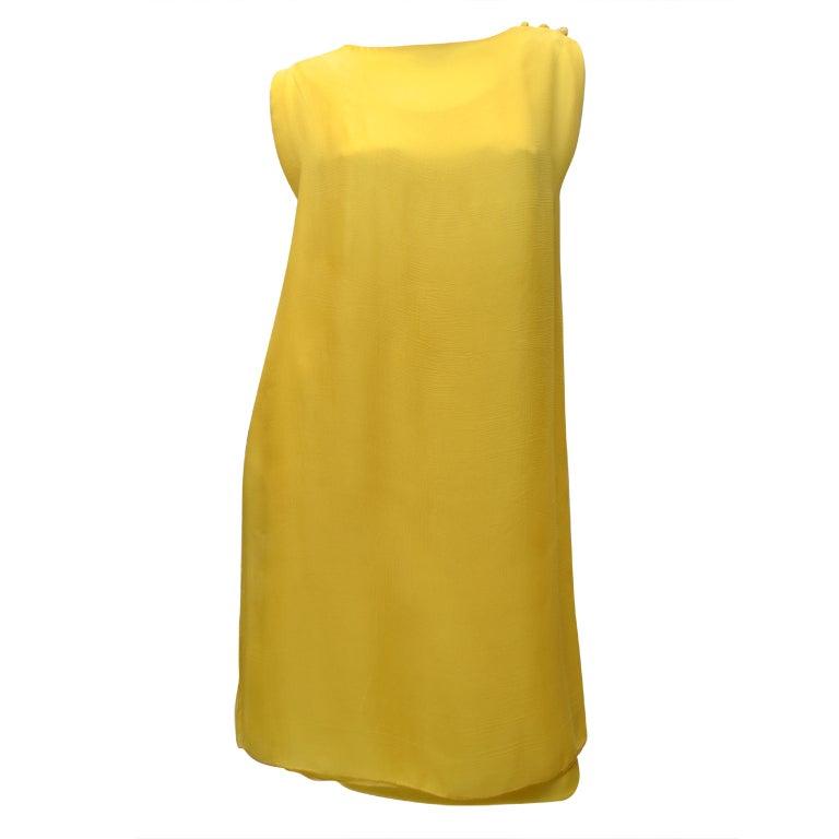 James Galanos 1970s Amelia Gray Summer Yellow Chiffon Dress