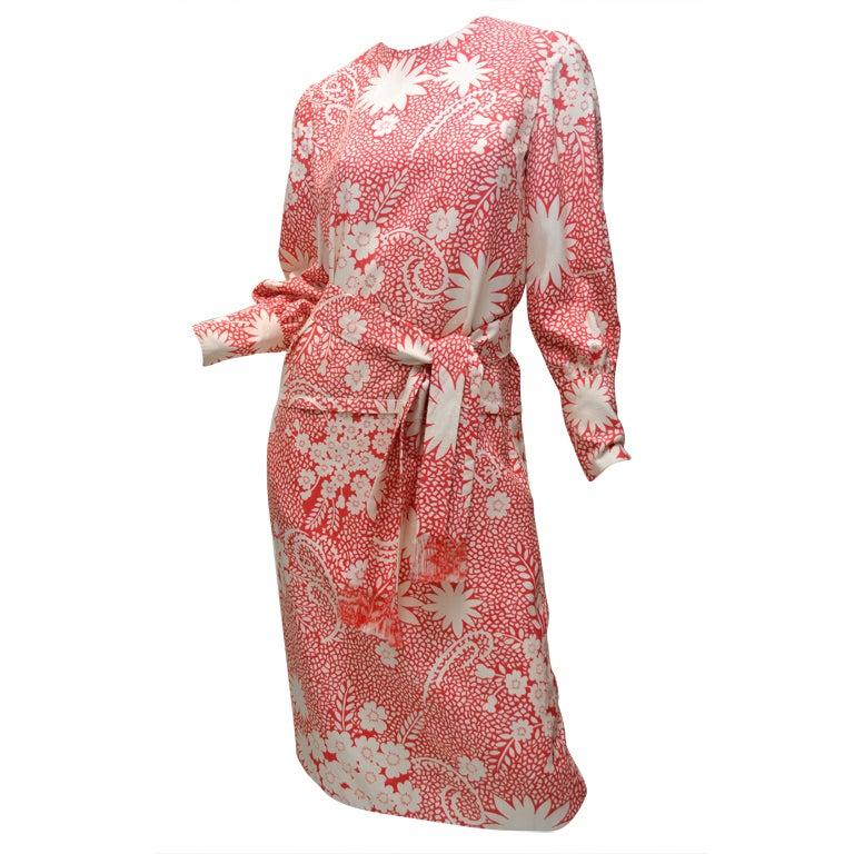 James Galanos for Amelia Gray Print Silk Day Dress 1960's