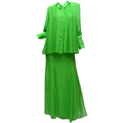 Galanos 1970s Summer Green Chiffon Evening Skirt and Blouse Pearl Buttons