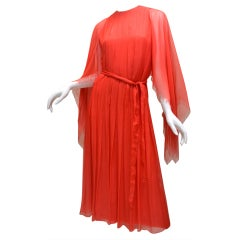 Galanos 1970s Amelia Gray Summer Orange Layered Chiffon Dress