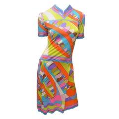 Emilio Pucci Vintage Geometric Print Silk Jersey Dress