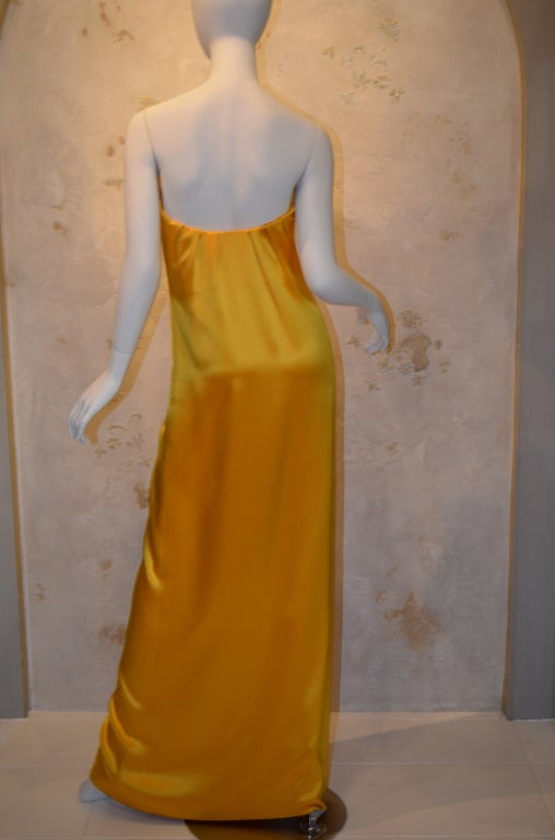 a5dbeb89552 Brown Yves Saint Laurent Haute Couture Silk Satin Gown Patron Original For  Sale