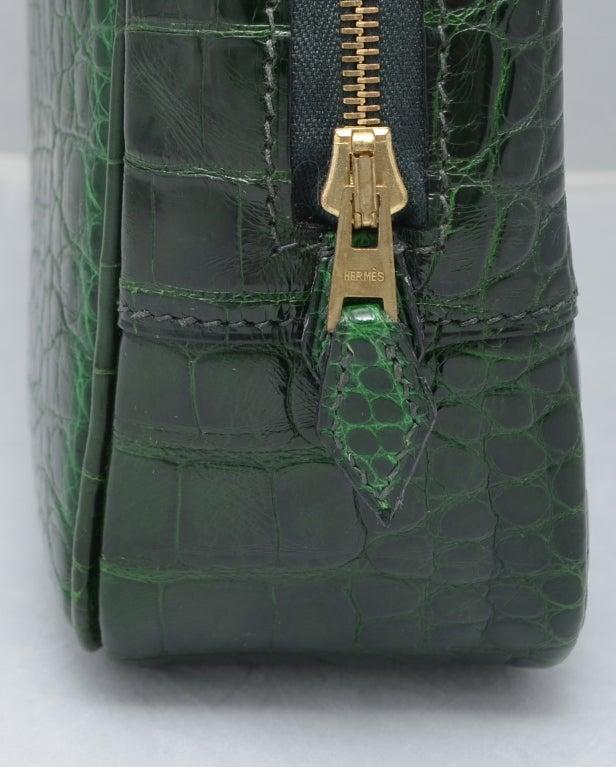 Hermes Paris Vert Fonce Dark Green Crocodile 28 cm Plume Handbag ...