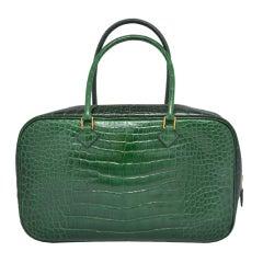 Hermes Paris Vert Fonce Dark Green Crocodile 28 cm Plume Handbag