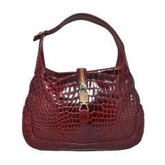 Gucci Crocodile Jackie O Hobo Handbag Vintage 1970's