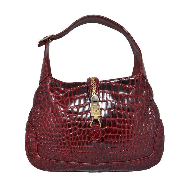 8a6e751c3 Gucci Crocodile Jackie O Hobo Handbag Vintage 1970's at 1stdibs