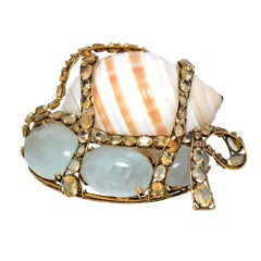 Large Iradj Moini Shell Brooch Set in Brass with Colored Gemstones
