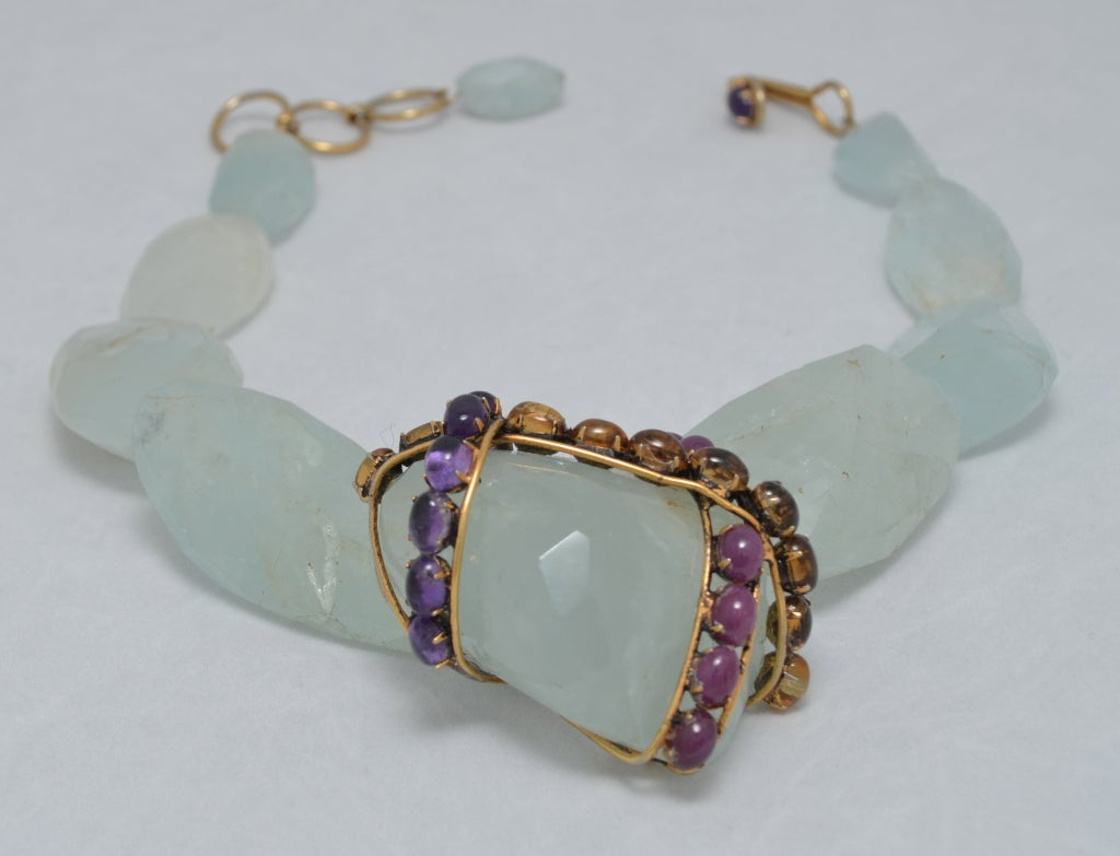 Iradj Moini Fluorite and Colored Gem Stone Statement Necklace 2