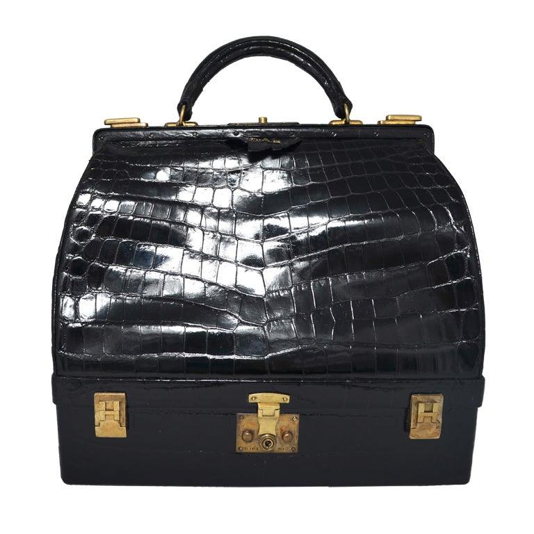 Hermes Crocodile Sac Mallette Handbag with Jewel Compartment at 1stdibs 6537420b85d48