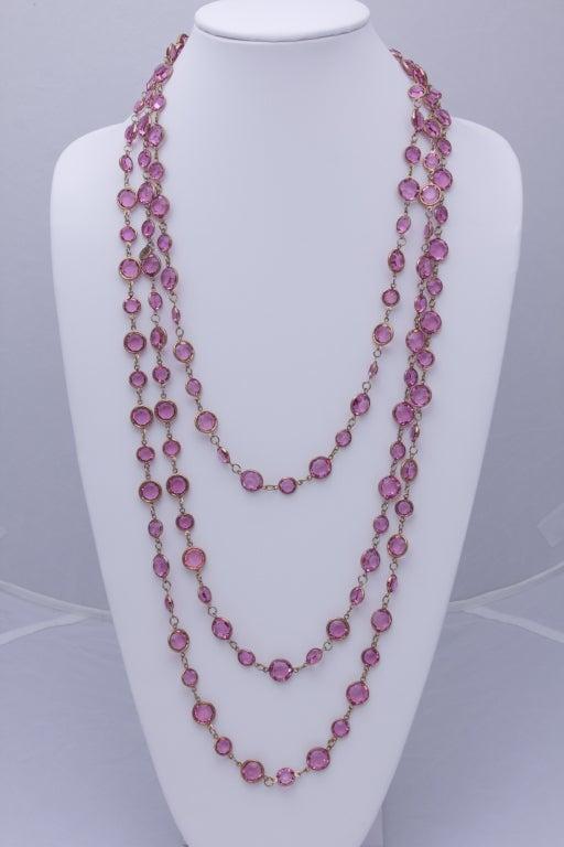 "Chanel 96"" Long Vintage 1981 Crystal Sautoir Necklace 2"