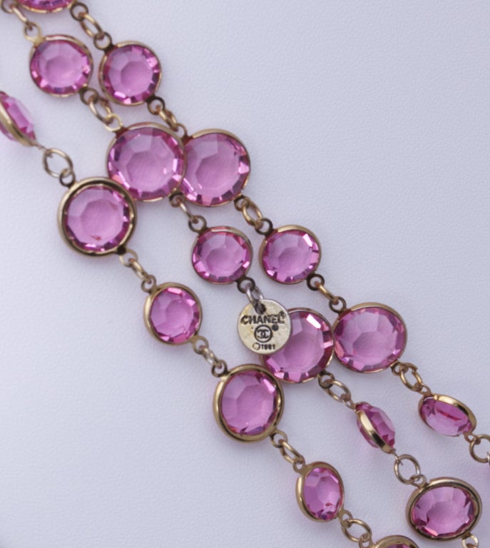 "Chanel 96"" Long Vintage 1981 Crystal Sautoir Necklace 4"
