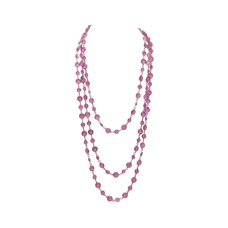"Chanel 96"" Long Vintage 1981 Crystal Sautoir Necklace 1"