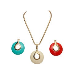 Lanvin Vintage Necklace with Set of 3 Interchangeable Pendants